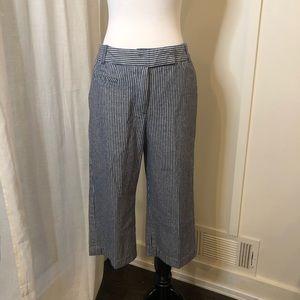SANDRO Navy Striped High Rise Crop Pants 6